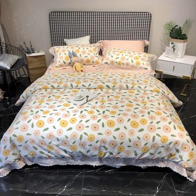 2020新款蕾丝全棉海岛棉系列四件套 1.8m床单款 多彩花季-粉
