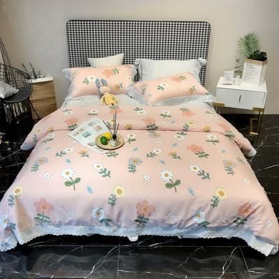 2020新款蕾丝全棉海岛棉系列四件套 1.5m床单款 花之恋 粉