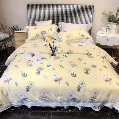 2020新款蕾丝全棉海岛棉系列四件套 1.8m床单款 花之恋 黄