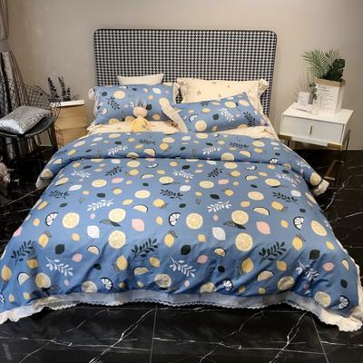 2020新款蕾丝全棉海岛棉系列四件套 1.8m床单款 欢乐柠檬