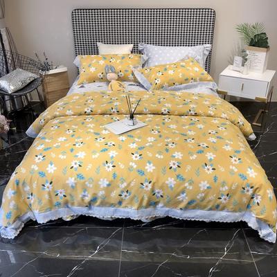 2020新款蕾丝全棉海岛棉系列四件套 1.5m床单款 踏青 黄
