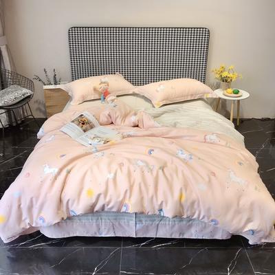 2020新款40s13372全棉印花系列四件套 1.5m床单款 彩虹糖-桔