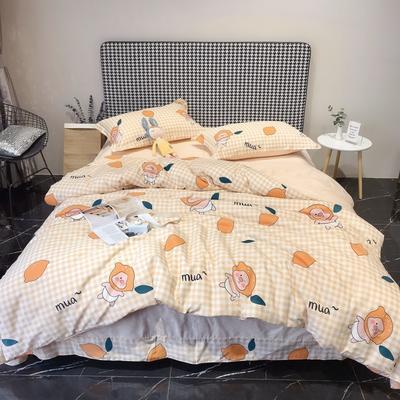 2020新款40s13372全棉印花系列四件套 1.5m床单款 柠檬猪