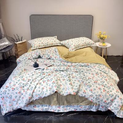 2020新款40s13372全棉印花系列四件套 1.5m床单款 紫藤花-米