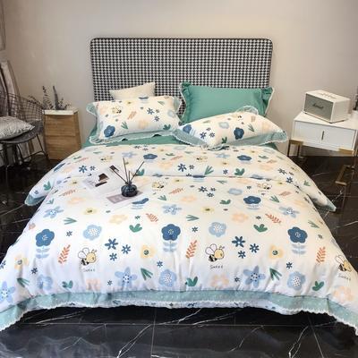 2020新款蕾丝全棉海岛棉系列四件套 1.5m床单款 畅游花海