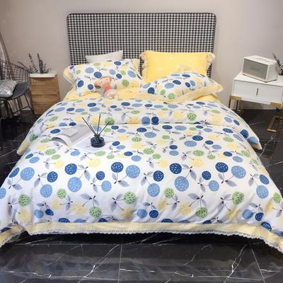 2020新款蕾丝全棉海岛棉系列四件套 1.5m床单款 沐春-米