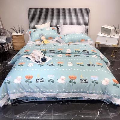 2020新款蕾丝全棉海岛棉系列四件套 1.5m床单款 夏日幽香-兰