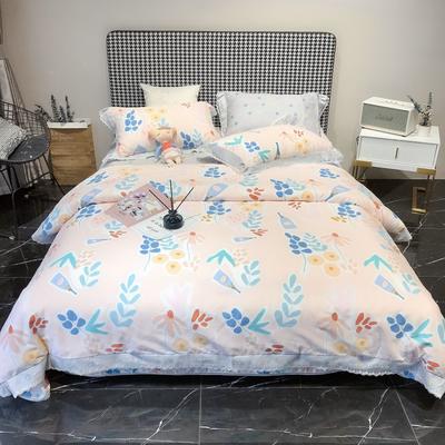 2020新款蕾丝全棉海岛棉系列四件套 1.8m床单款 花枝俏-粉