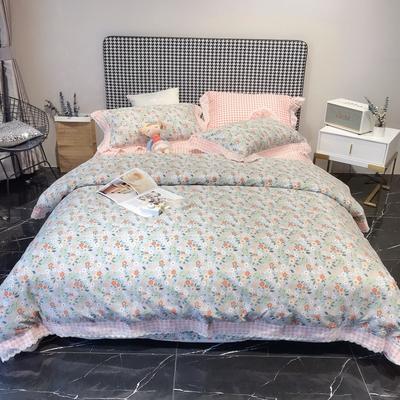2020新款蕾丝全棉海岛棉系列四件套 1.5m床单款 可可佳人-灰