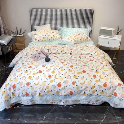2020新款蕾丝全棉海岛棉系列四件套 1.5m床单款 水果家族-米