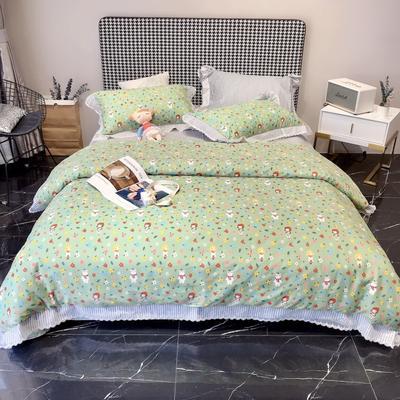 2020新款蕾丝全棉海岛棉系列四件套 1.5m床单款 童年-绿