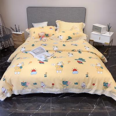 2020新款蕾丝全棉海岛棉系列四件套 1.8m床单款 早餐