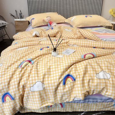 2020新款40s13372全棉印花系列四件套 1.5m床单款四件套 天空之境-黄
