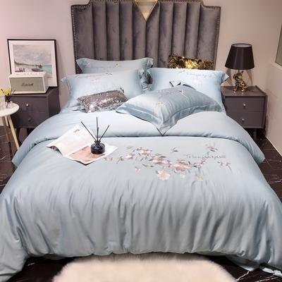 2020新款60长绒棉工艺款四件套 -罗密欧 1.8m床单款四件套 天空蓝