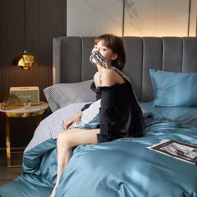 2020新款60支双面长绒棉四件套-莫吉托系列 1.5m床单款四件套 宝石蓝