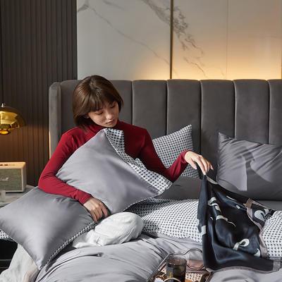2020新款60支双面长绒棉四件套-莫吉托系列 1.5m床单款四件套 高级灰