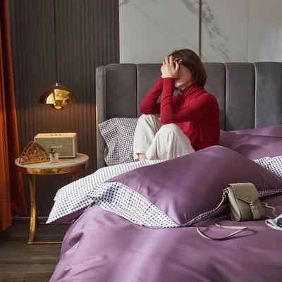 2020新款60支双面长绒棉四件套-莫吉托系列 1.5m床单款四件套 葡萄紫