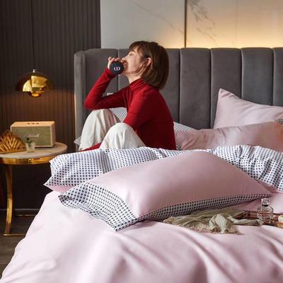 2020新款60支双面长绒棉四件套-莫吉托系列 1.5m床单款四件套 少女粉
