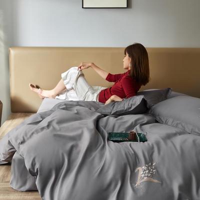 2020新款60长绒棉四件套-普罗旺斯 1.5m床单款四件套 深度灰