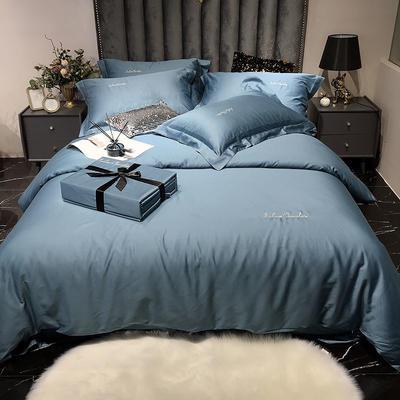 2020新款60长绒棉纯色系列四件套 1.8m床单款四件套 宾利蓝