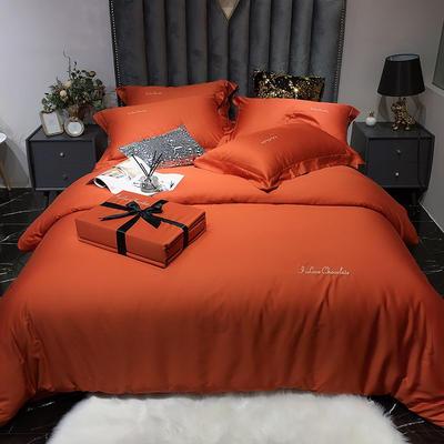 2020新款60长绒棉纯色系列四件套 1.5m床单款四件套 活力橙