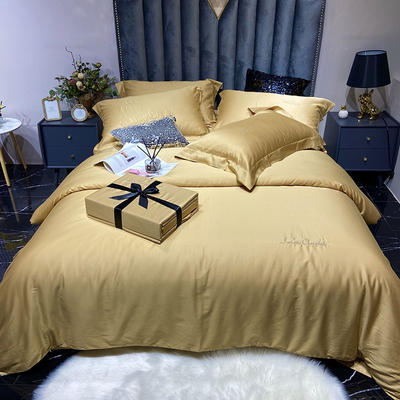 2020新款60长绒棉纯色系列四件套 1.8m床单款四件套 姜黄