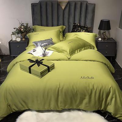 2020新款60长绒棉纯色系列四件套 1.8m床单款四件套 芥末绿