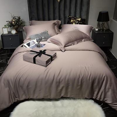 2020新款60长绒棉纯色系列四件套 1.5m床单款四件套 杏粉
