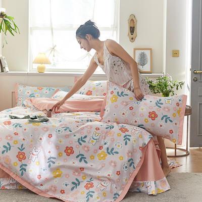 2020新款罗卡棉系列四件套 1.8m床单款四件套 布迪熊-萝莉粉