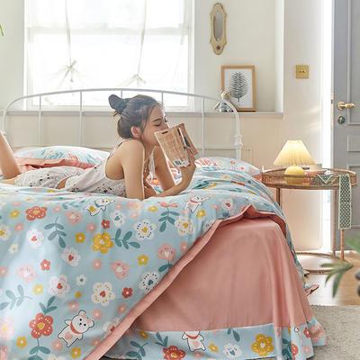 2020新款罗卡棉系列四件套 1.8m床单款四件套 布迪熊-松饼绿