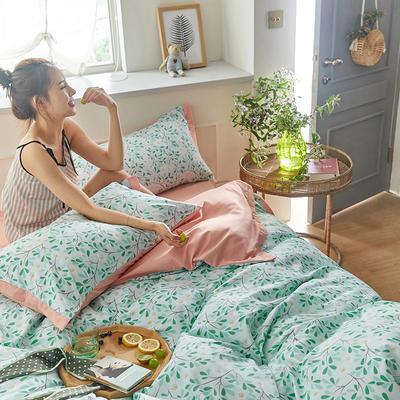 2020新款罗卡棉系列四件套 1.8m床单款四件套 美杜莎-清新绿