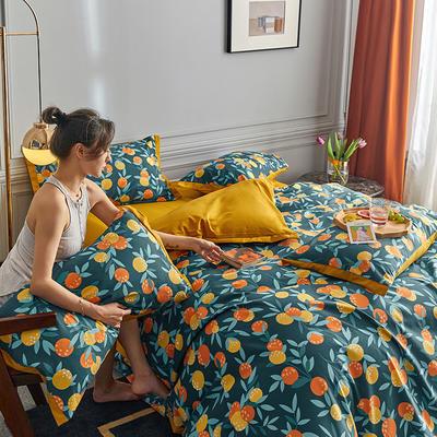 2020新款罗卡棉系列四件套 1.8m床单款四件套 小可桔