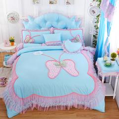 全棉斜纹13372系列床裙款四件套-蝶语之恋(床头柜罩) 蓝色