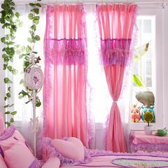 全棉斜纹13372系列床裙款四件套-蝶语之恋(窗帘) 1.6米*2.0米*2片 粉色