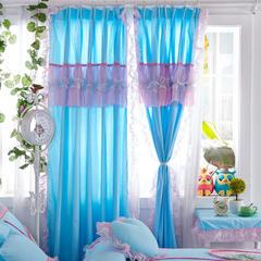 全棉斜纹13372系列床裙款四件套-蝶语之恋(窗帘) 1.6米*2.0米*2片 蓝色