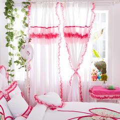 全棉斜纹13372系列床裙款四件套-蝶语之恋(窗帘) 1.6米*2.0米*2片 玫红