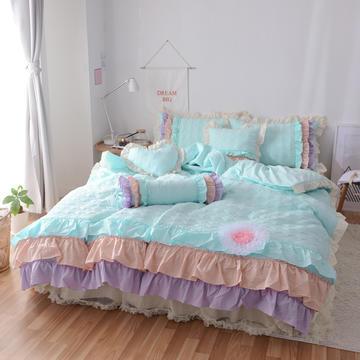 水洗棉夹棉四件套-Annie公主 床裙款1.2m(4英尺)床 清新蓝