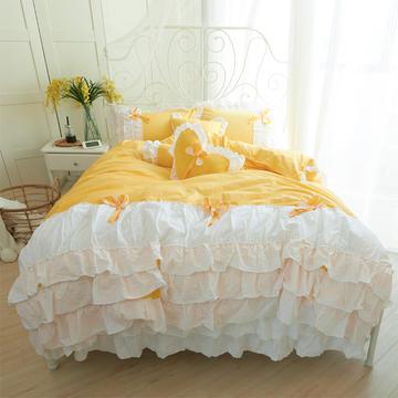 全棉斜纹13372系列床裙款四件套-少女梦 1.2m(4英尺)床 少女梦黄