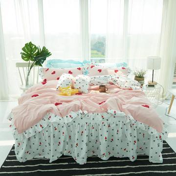 毛巾绣水洗棉四件套-遇见床裙式 1.2m(4英尺)床 遇见  甜心粉