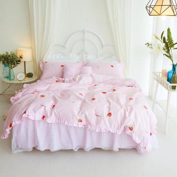 2018新款-13372 春夏甜蜜款四件套(床裙款) 1.2m(4英尺)床 草莓女孩