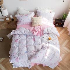 2019新款春夏新款韩版公主风卡通公主系列全棉13070 7色 四件套 流苏装饰方枕 小可爱