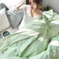 夏被系列 水洗棉棉花夏被 150*200 清新绿条纹