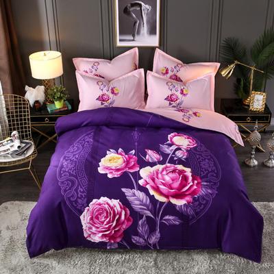 2019新花色大版植物羊绒四件套总汇 1.5m床单款四件套 念初-紫