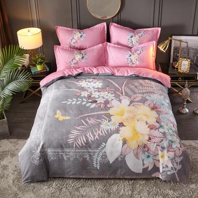 2019新花色大版植物羊絨四件套總匯 1.5m床單款四件套 國色天香