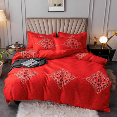 2020新款植物羊绒小版四件套 1.2m床单款三件套被套150*200cm 永恒爱恋