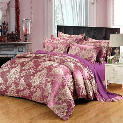 贡缎提花床单款四件套 1.8m(6英尺)床 花都绽放(紫色)