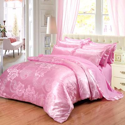 贡缎提花床单款四件套 1.8m(6英尺)床 花间飞舞(粉红)