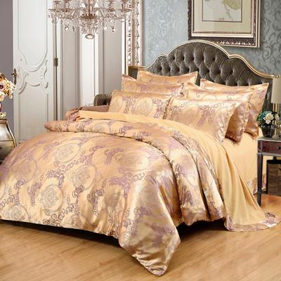 贡缎提花床单款四件套 1.8m(6英尺)床 曼珠莎华(香槟紫)
