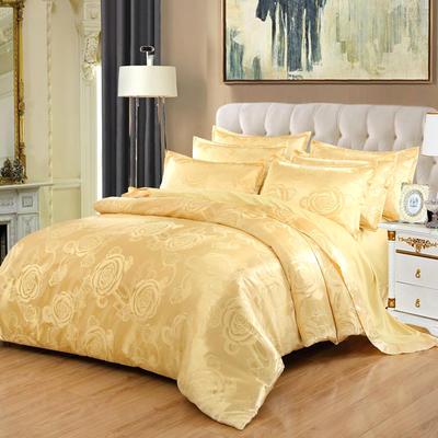 贡缎提花床单款四件套 1.8m(6英尺)床 玫瑰之约(金驼)