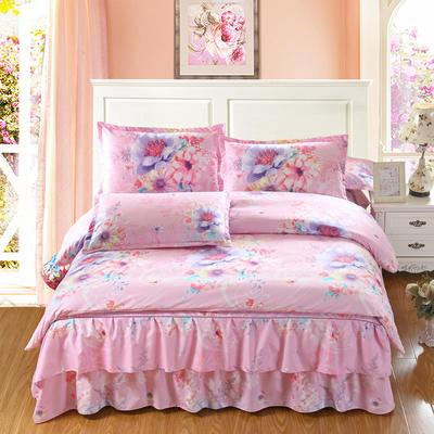 高克重植物羊绒斜纹磨毛床裙四件套 2.0m(6.6英尺)床 风中花语